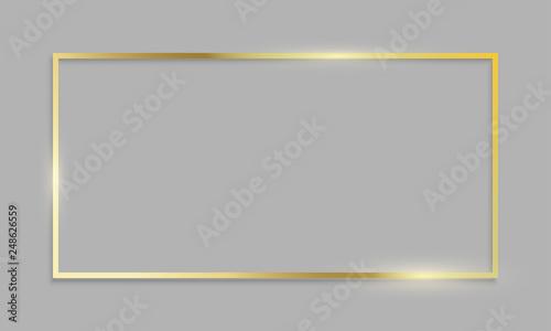 Obraz Golden frame shiny border on transparent background. Vector realistic gold texture frame - fototapety do salonu