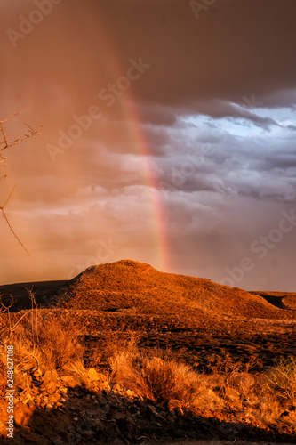 Keuken foto achterwand Rood traf. Sundowner when a big thunderstorm is coming up at Erindi Private Game Reserve in Namibia