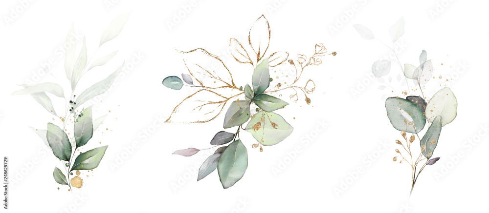 Fototapety, obrazy:  watercolor arrangements with leaves, herbs.  herbal illustration. Botanic composition for wedding, greeting card.