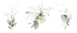 Leinwandbild Motiv  watercolor arrangements with leaves, herbs.  herbal illustration. Botanic composition for wedding, greeting card.