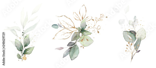 Obraz  watercolor arrangements with leaves, herbs.  herbal illustration. Botanic composition for wedding, greeting card. - fototapety do salonu
