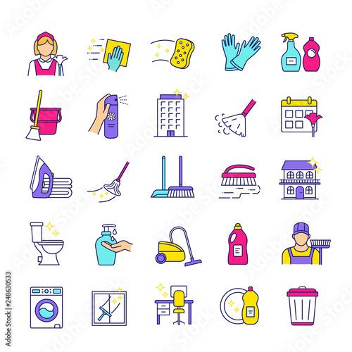 Fotografía  Cleaning service color icons set
