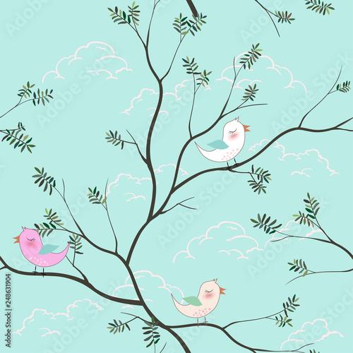 Cute Birds Cartoon Seamless Pattern On Soft Blue Background