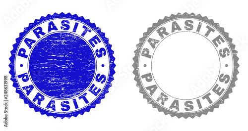 Grunge PARASITES stamp seals isolated on a white background Wallpaper Mural