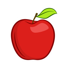 Red Granny Smith Apple Fruit With Leaf Flat Icon For Food Apps And Websites