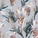 Exotic flowers seamless pattern. Artistic background. - 248636580