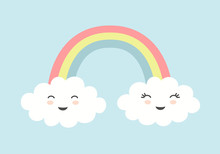 Cute Clouds With Smiling Faces And Rainbow On Blue Sky Background.