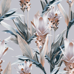 Fototapeta Kwiaty Exotic flowers seamless pattern. Artistic background.
