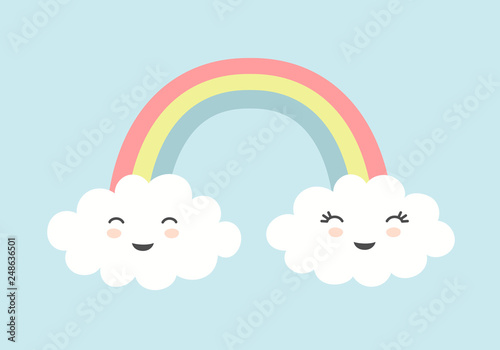Fotografía Cute clouds with smiling faces and rainbow on blue sky background