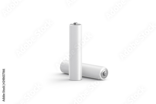 Photo Blank white power battery stand and lying mockup, isolated, 3d rendering