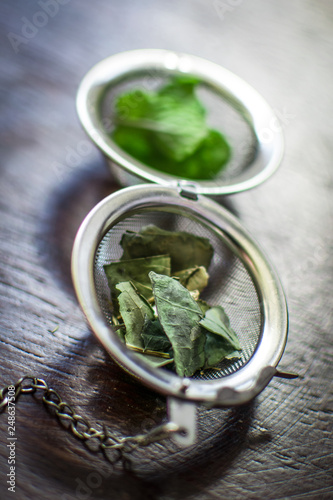 Fotografie, Obraz  Metal tea infuser with dried leaves of green tea and fresh mint on a dark brown