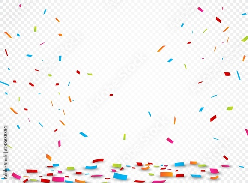 Obraz Colorful ribbon and confetti, isolated on transparent background - fototapety do salonu