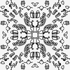 Doodle fashion with a thick, symmetrical, circle and simple black line style, suitable for shopping, convection, advertisement, women's needs, and beauty business industries