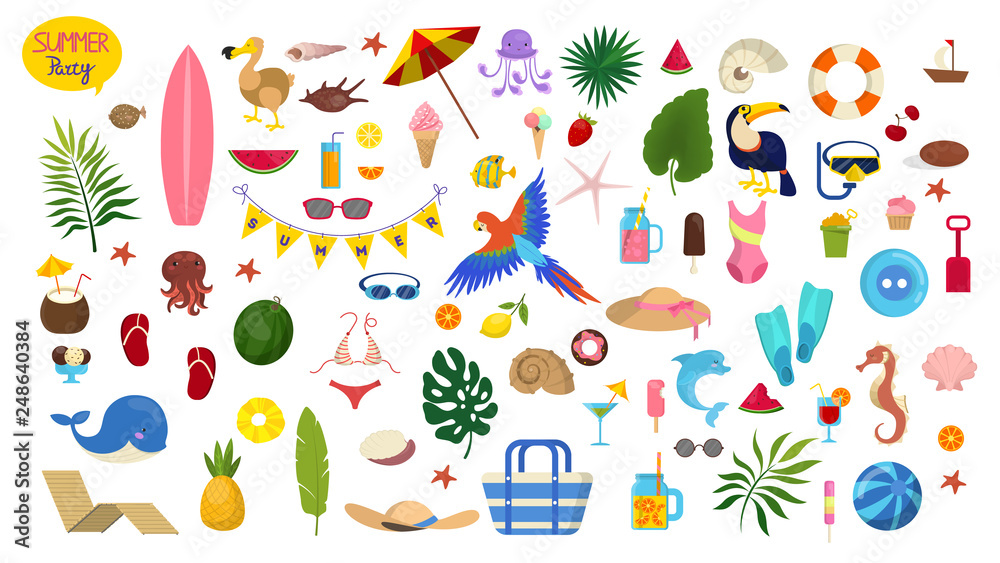Fototapety, obrazy: Summer vacation set. Collection of holiday symbol