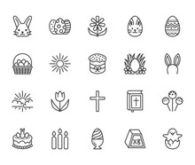 Easter Flat Line Icons Set. Colored Eggs, Basket, Egg Hunt, Rabbit, Spring Flowers, Bible, Cake Vector Illustrations. Thin Signs Christianity Celebration. Pixel Perfect 64x64 Editable Strokes