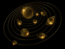 Shine Golden Solar System With Hand Drawn Planets Isolated On Black Background. Golden Solar System, Astronomy And Galaxy, Cosmos Universe With Sun Illustration