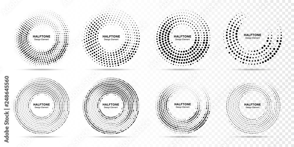 Fototapeta Halftone circle dotted frame circularly distributed. Abstract dots logo emblem design element. Round border Icon using random halftone circle dot raster texture. Half tone circular background pattern.