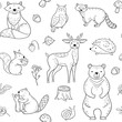 Forest animals seamless pattern. Fox Owl Raccoon Beaver Bear Hedgehog Squirrel Fox. Woodland baby animal vector wallpaper. Squirrel and bear, woodland repeat background illustration