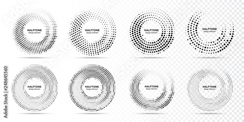 Fotomural Halftone circle dotted frame circularly distributed