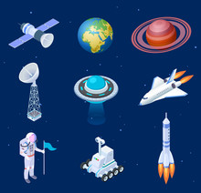 Isometric Spaceships. Space Satellite Rocket Telescope Globe Spaceman Astronaut. Missile Spacecraft 3d Isolated Vector Set. Illustration Of Rocket Satellite And Spaceship In Universe