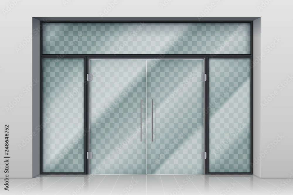 Fototapeta Glass entrance door. Shopping center mall entrance automatic doors with reflection and chrome frame vector illustration. Entrance door to boutique or market