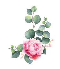 Watercolor Vector Wreath With Green Eucalyptus Leaves, Peony Flowers And Branches.