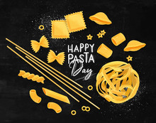 Happy Pasta Day Poster Chalk