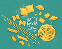 Happy Pasta Day Poster Turquoise