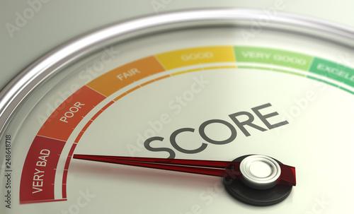 Foto Business Credit Score Gauge Concept, Very Bad Grade.