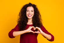 Close Up Photo Beautiful Amazing Her She Lady Arm Friendly Show Healthy Heart Shape Figure Form Wearing Red Knitted Sweater Clothes Outfit Isolated Yellow Bright Background