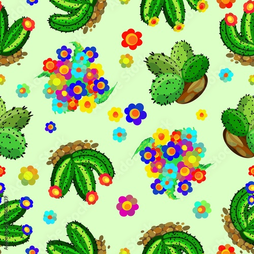 Fotobehang Draw Succulents and Cactus Colorful Floral Seamless Pattern