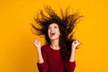 Close Up Photo Amazing Charming Her She Lady Hair Flight Fists Raised Look To Empty Space Yell Scream Shout Great Win Luck Wearing Red Knitted Sweater Clothes Outfit Isolated Yellow Bright Background