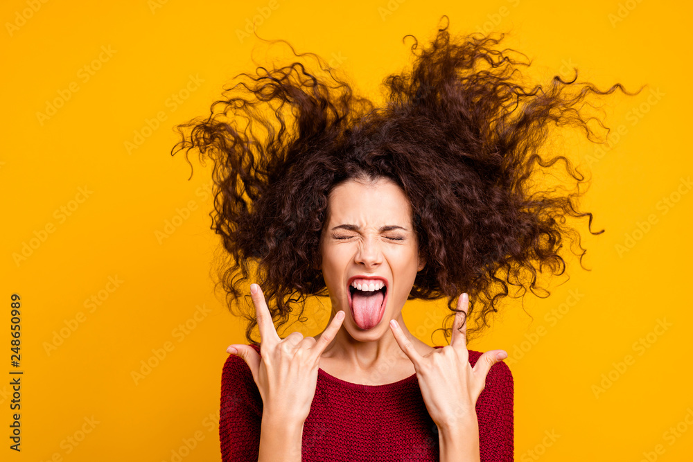 Fototapety, obrazy: Close up photo amazing beautiful her she lady eyes closed hair flight glad sing rock legendary songs hits funky fan wearing red knitted sweater clothes outfit isolated yellow bright background