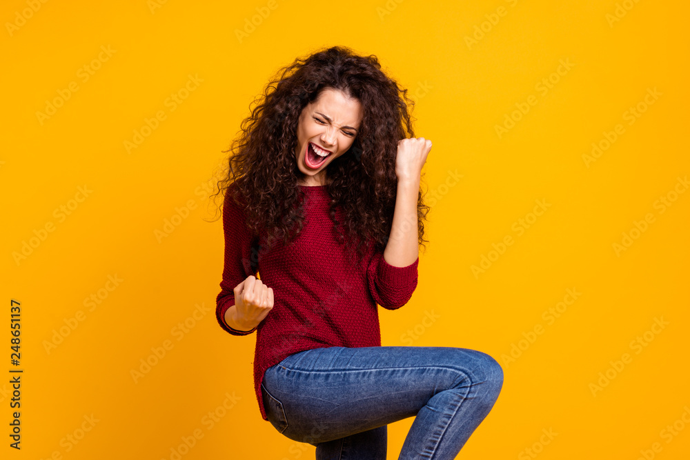 Fototapety, obrazy: Close up photo amazing beautiful her she lady all possible yell voice raised fists hip in delight like rock star guitar wear red knitted sweater pullover clothes outfit isolated yellow background