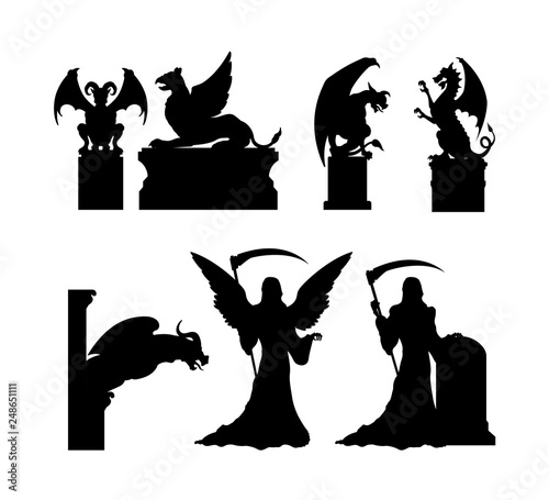 Tablou Canvas Black silhouettes of gothic statues