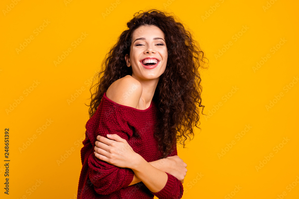 Fototapety, obrazy: Close up side profile photo amazing beautiful her she lady beaming toothy smiling holding herself hugs self-confident wearing red knitted sweater pullover clothes outfit isolated yellow background