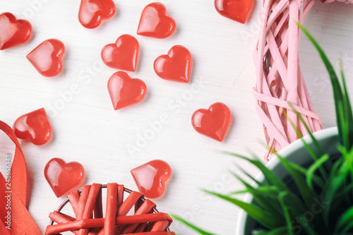 romantic background with tender hearts