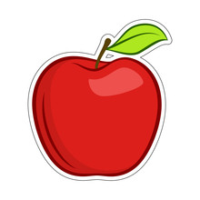 Red Granny Smith Apple Fruit With Leaf Flat Icon For Food Apps And Stickers