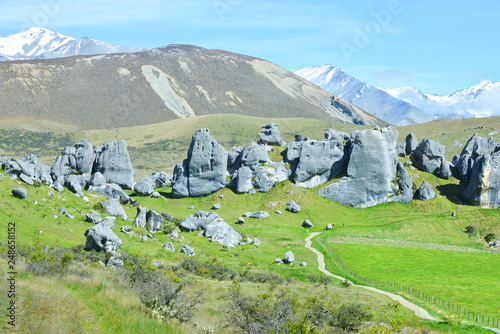 Fotobehang Olijf The Castle hill. Southern Alps. Arthurs Pass. New Zealand