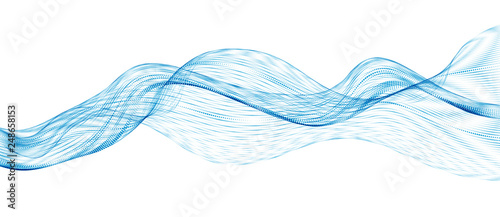 3d particles mesh array, sound wave flowing. Round points vector effect illustration. Blended mesh, 3d futuristic technology style. - fototapety na wymiar