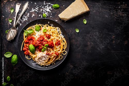 delicious appetizing classic spaghetti pasta with tomato sauce, parmesan Slika na platnu