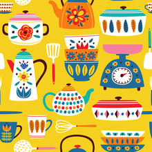 Yellow Seamless Pattern With Vintage Kitchen - Vector Illustration, Eps