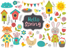 Set Of Isolated Spring Elements And Characters - Vector Illustration, Eps