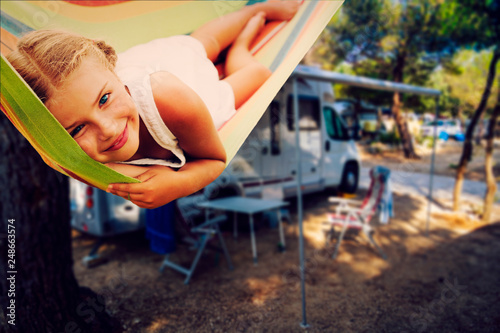 Fototapeta Camping RV travel with camper, summer beach