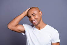 Close Up Photo Glad Dark Skin He Him His Macho Hand Arm Head Great Result After Using New Shampoo Visiting Barbershop Hot Looking Wearing White T-shirt Outfit Clothes Isolated On Grey Background