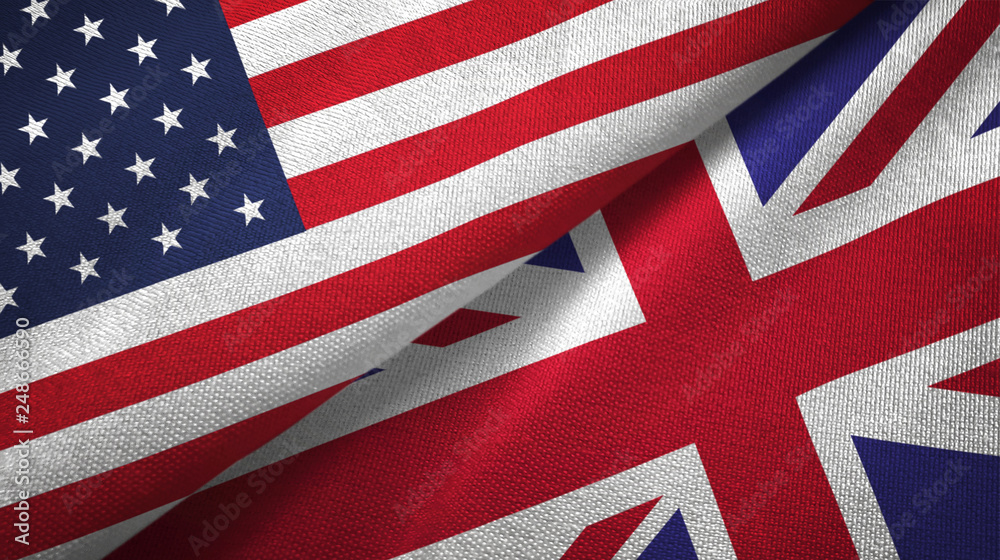Fototapety, obrazy: United States and United Kingdom two flags textile cloth, fabric texture