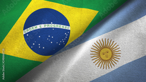 Fotomural Argentina and Brazil two flags textile cloth fabric texture
