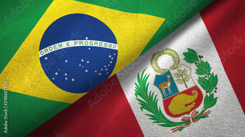 Foto  Peru and Brazil two flags textile cloth fabric texture