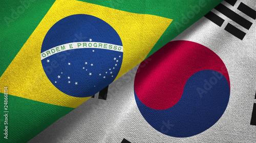Fotografie, Obraz  South Korea and Brazil two flags textile cloth fabric texture