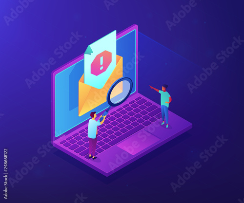 Tiny people businessmen with magnifier get advertising, malware unsolicited messages. Spam, unsolicited messages, malware spreading concept. Ultraviolet neon vector isometric 3D illustration.